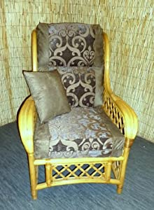 Luxury Cushion Covers for Cane Wicker and Rattan Conservatory and Garden Furniture - Brown Faux Suede & Brown Silky Jacquard Chenille - RRP £79.99 by Zippy UK