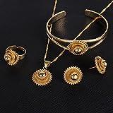 Necklace-Pendants-Earrings-Ring-Set-African-Gold-Cross-Jewelry-Set