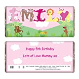 Personalised Girls Animal Alphabet Chocolate Bar for Kids Great Fun Gift for Girls Birthdays Christmas