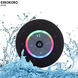 Exkokoro(TM)Water Resistant Portable Shower Bluetooth 4.0 Speakers Subwoofer, Colorful LED Light Effect, Strong Adhesion, Hands-free Calls, FM Radio for all Bluetooth Device.(Black)