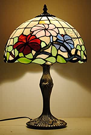 12 inch stained glass flower tiffany table lamp bedside for 12 inch table lamp