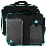 Vangoddy Black-Aqua Pindar Shoulder Portfolio Bag Case for Micromax Canvas Laptab II LT777 11.6-inch Laptop