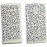 Flip Style Case Handy Tasche f�r Sony Xperia T / LT30p / Mint WEISS GOLD Schutz H�lle mit Blumen Flower Design Leder Etui Cover Geh�use Neu