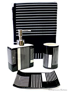 Chic 4pc Bath Black & White Bathroom Accessory Set Fabric Shower Curtain