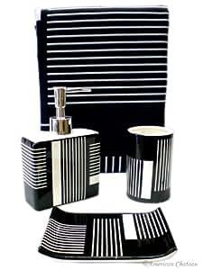 Chic 4pc bath black white bathroom accessory for Black bathroom accessories set