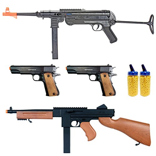 BBTac Airsoft Gun Package - World War II Collection of 4 Airsoft Guns, Spring Rifles and Pistols, 4000 BB Pellets, Great for Starter Pack Game Play (10 Dollar Airsoft Guns compare prices)