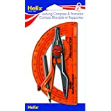 Helix Plastic Compass and Protractor Set, Color May Vary, Assorted Colors (18803)