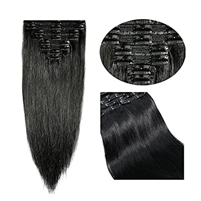 14-22inch Double Weft 100% Remy Human Hair Clip in Extensions Grade 7A Quality Full Head Thick Long Soft Silky Straight 8pcs 18clips for Women Fashion