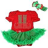 Navidad Baby Vestido Rhinestone zapatos de Navidad rojo body Verde tut� body nb-18�m Rojo rosso L
