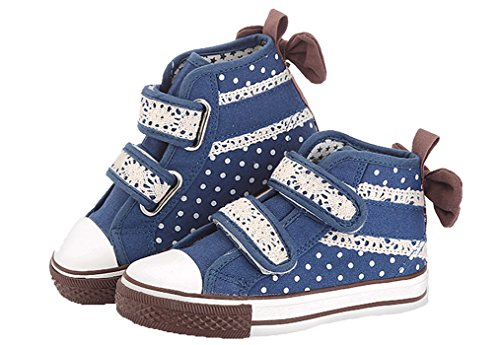 Legend E.C Girls' Lesliee Cute Magic Stick High Top Canvas Sneakers Lace Bowknot Skateboard Shoes For Girls (9.5, Deep Blue)