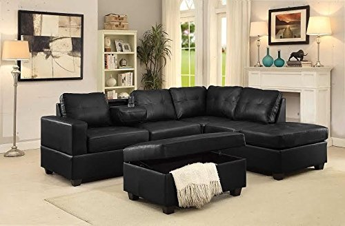 GTU Furniture Pu Leather Living Room Reversible Sectional Sofa Set in Black/White (WITH OTTOMAN, BLACK)