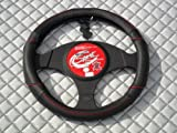 Nissan Pixo / Note / X- Trail Steering Wheel Cover -SW11M Black Italian Leather+Red Piping 14.5 inches medium
