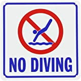 """SmartSign Plastic Sign, Legend """"No Diving"""" with Graphic, 10"""" square, Blue/Red on White"""