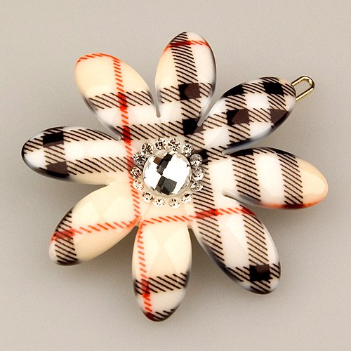 Vignette Light Plaid - Cubitas Picabia Collection (Hand-Set Swarovski Crystals, Hair Pin)