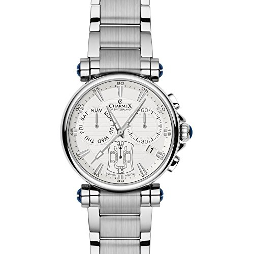 Charmex Fifth Avenue 2585 40mm Silver Steel Bracelet & Case Synthetic Sapphire Men's Watch