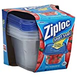 Ziploc Smart Snap Seal Containers and Lids, Square, Medium, 4 Cups, 4 containers and lids