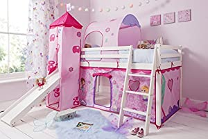 Cabin Bed Mid Sleeper in White with Fairy Tent Tower & Tunnel 70-WG-FAIRIES