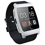 Luxsure® Silver Uwatch UX Smart Watch with Heart Rate Monitor Android Smart Watch Phone Sports Bluetooth Wristwatch With 3G magsensor gravity sensor Compatible With IOS & Android for Apple iphone 4/4S/5/5C/5S Samsung S2/S3/S4/Note 2/Note 3