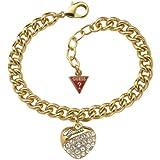 Guess Damen-Armband Metall vergoldet mit Herzanhänger UBB70206