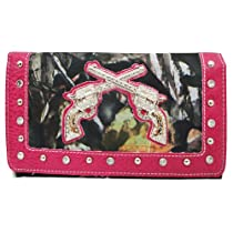 BNB Natural Camo® Western Rhinestone Guns Fashion Wallet (HOTPINK)