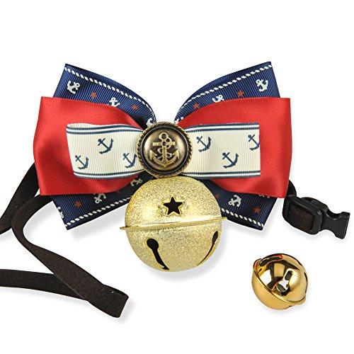 Multiple Colorati Collari per Cuccioli di cane o gatto, Marina Stile Collare Regolabile con bel Campana ( 15 - 50cm ) (Marina Stile 3, L)
