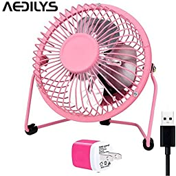 AEDILYS 4 Inch Mini USB Fan ,Office Fans with 360 Rotation , (A Free Adapter, Metal Design, Large Air Flow, Quiet Operation) Portable USB Desk Fan Mini Table Fan and Travel Mini Fan (4 Inch, Pink)
