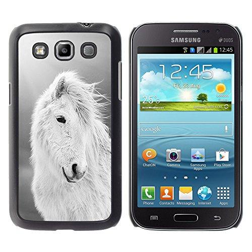 WonderWall Tapete Bunt Bild Handy Hart Schutz hülle Case Cover Schale Etui für Samsung Galaxy Win I8550 I8552 Grand Quattro - Pferd weiß schwarz sommer tier