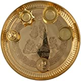 The Krishna Worship House Brass Pooja Thali (30 Cm X 30 Cm X 6 Cm , Golden)