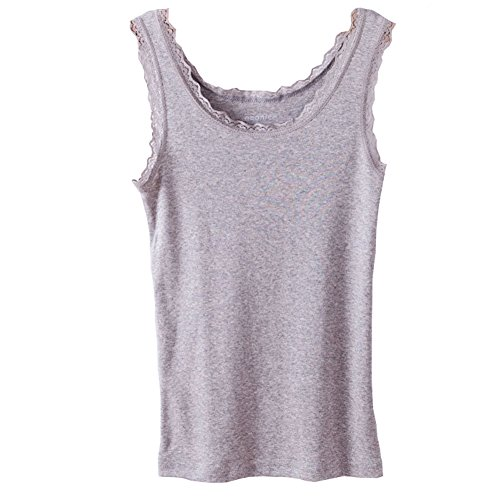 Micmall Cami Camisole Cotton U Style Lace Spaghetti Strap Women's Tank Top Grey Large (Womens Semi Cotton Tank Tops compare prices)
