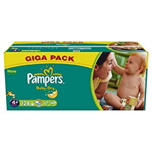 Pampers Baby Dry (Maxi +) Nappies Giga Pack - Size 4+ (124 Nappies)