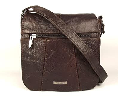 Dark Chocolate Brown Genuine Real Leather Ladies Small Handbag Across the Body Bag Long Adjustable Strap.