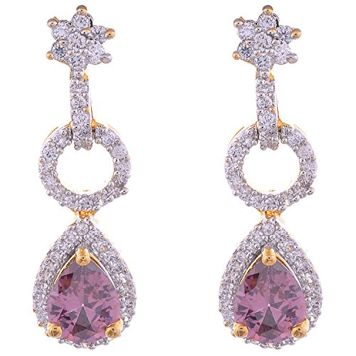 Aditri Aditri Purple Colour American Diamond Clip-On Fashion Earrings For Women (Multicolor)