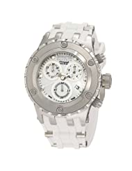 Invicta Women's 0529 Reserve Chronograph White Mother-Of-Pearl Dial White Polyurethane Watch