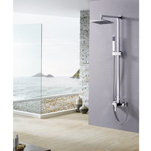 LightInTheBox Single Handle Wall Mount Rainfall Shower Faucet Set with 8 Inch Shower Head and Adjustable Slide Bar, Chrome