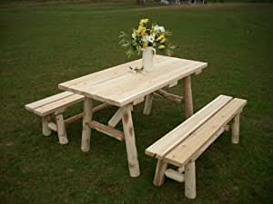 White cedar log picnic table with detached for 12 foot picnic table