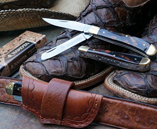 Nakota Crockett Classic (Knife + Premium sideways leather sheath) Petrified Tiger Eye Amber handle style - LIFETIME GUARANTEE*