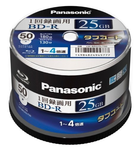 PANASONIC Blu-Ray Disc 50 Spindle - 25GB 4X BD-R - Printable [2011 Version]