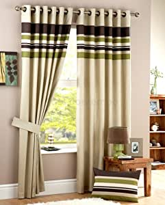 Lime Green Brown STRIPE Heavy Eyelet Ring Top Curtains 66 x 72