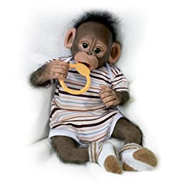 Cindy Sales\' Baby Zeke Monkey Doll With One-Piece Outfit And Pacifier - By The Ashton-Drake Galleries