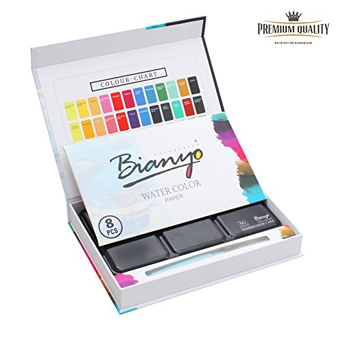 Watercolor Paint Set - 36 Watercolors Field Sketch Set - Vibrant Colors - Professional Supplies - Christmas gift - With Water Brush,8 Pieces Watercolor Paper by Bianyo (Watercolor Pans compare prices)
