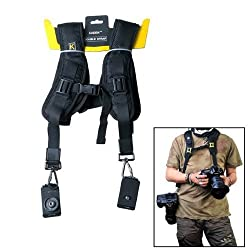 IMAGE® Double Dual Shoulder Quick Release Neck Belt Sling Strap For Two DSLR Camera Canon Nikon Sony Pentax Panasonic SLR DSLR Cameras