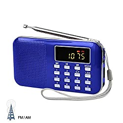 LEFON Mini Digital AM / FM Radio Media Speaker MP3 Music Player Support TF Card / USB Disk with LED Screen Display and Emergency Flashlight Function (Blue-Upgraded)