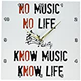 3dRose dpp_201977_2 No Music No Life Know Music Know Life Picture of Music Notes Wall Clock, 13 x 13""