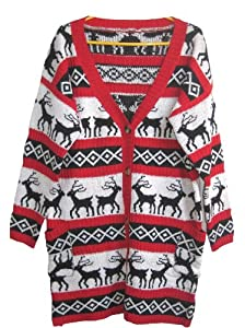 A168® Womens Oversized Christmas Reindeer Cardigan