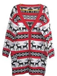 Christmas Sweater Cardigan Various Patterns of Reindeer Snowman Snowflakes Tree (S/M (Tag: S), Red-Deer-Cardigan)