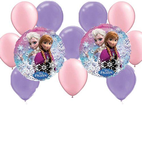 12 pc Disney Frozen Party Balloons: 2 Mylar 5 Pink 5 Purple Latex - 1