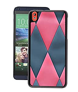 Fuson 2D Printed Back Case Cover for HTC Desire 816 Diamond Pattern Pink and Black D4539 HTC DESIRE 816