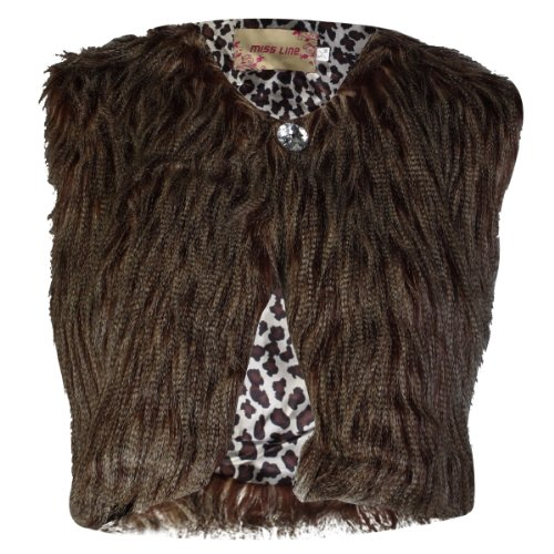 7I Womens Brown Faux Fur Cropped Sleeveless Ladies Gilet Waistcoat Jacket Size 12/14