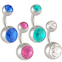 14g 14 gauge (1.6mm), 1/4 inches 6mm long - surgical steel belly button Navel rings earrings ear ball bar bars Swarovski Crystal Jeweled lot AIUN - Pierced Body Piercing Jewelry- Set of 4 from bodyjewellery