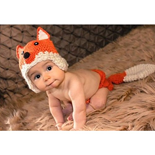 Newborn Baby Girl Boy Knit Crochet Clothes 2Pcs Beanie Hat Outfit Fox Design 0-3M back-484504